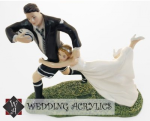 Humorous Love Match Rugby Wedding Cake Topper
