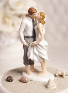 Beach Scene Bride and Groom Wedding Cake topper